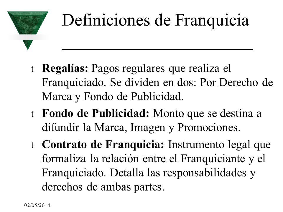 02/05/2014 Definiciones de Franquicia ______________________ t Regalías: Pagos regulares que realiza el Franquiciado. Se dividen en dos: Por Derecho d