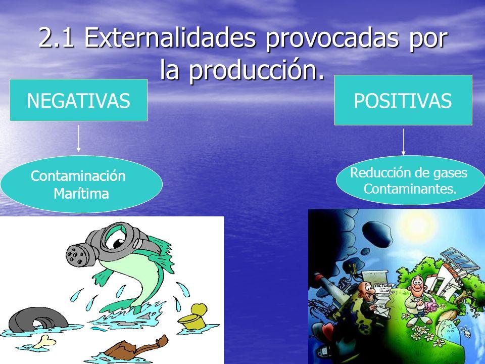 2.1 Externalidades provocadas por la producción. POSITIVAS Reducción de gases Contaminantes. NEGATIVAS Contaminación Marítima