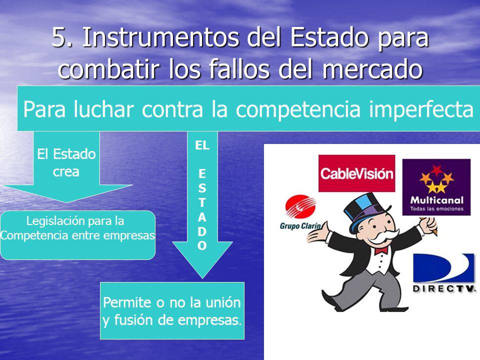 5. Instrumentos del Estado para combatir los fallos del mercado Para luchar contra la competencia imperfecta El Estado crea Legislación para la Compet