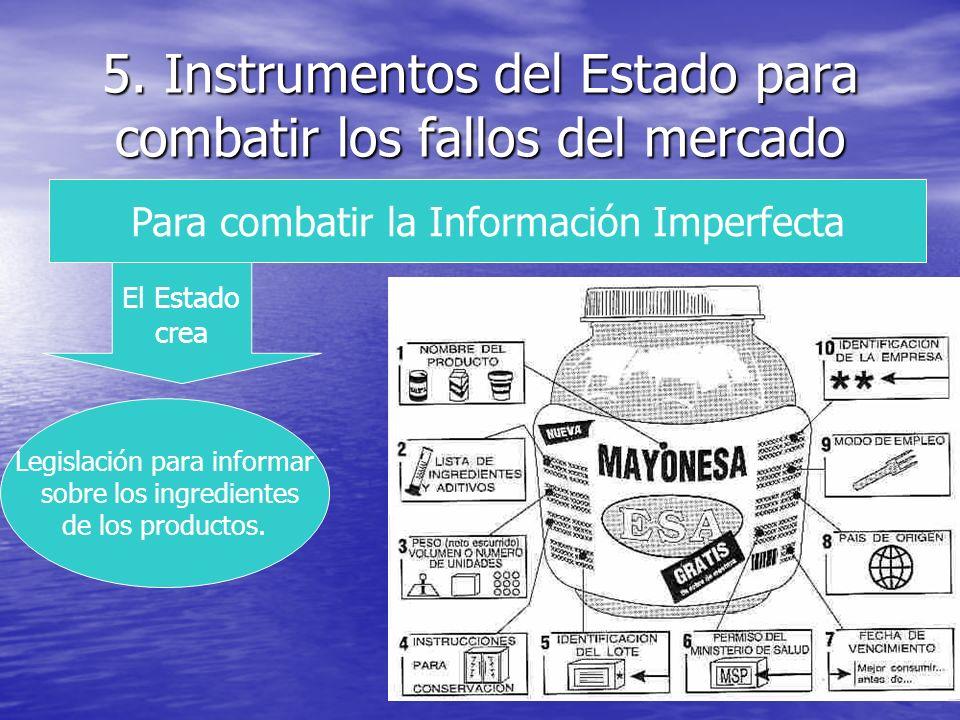 5. Instrumentos del Estado para combatir los fallos del mercado Para combatir la Información Imperfecta El Estado crea Legislación para informar sobre