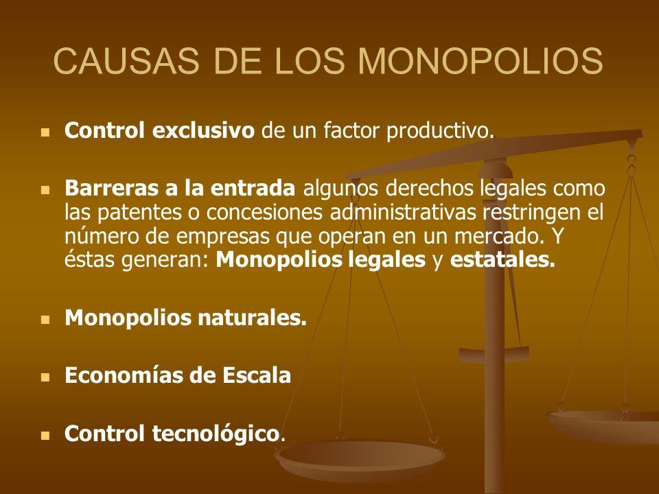 CAUSAS DE LOS MONOPOLIOS Control exclusivo de un factor productivo. Barreras a la entrada algunos derechos legales como las patentes o concesiones adm