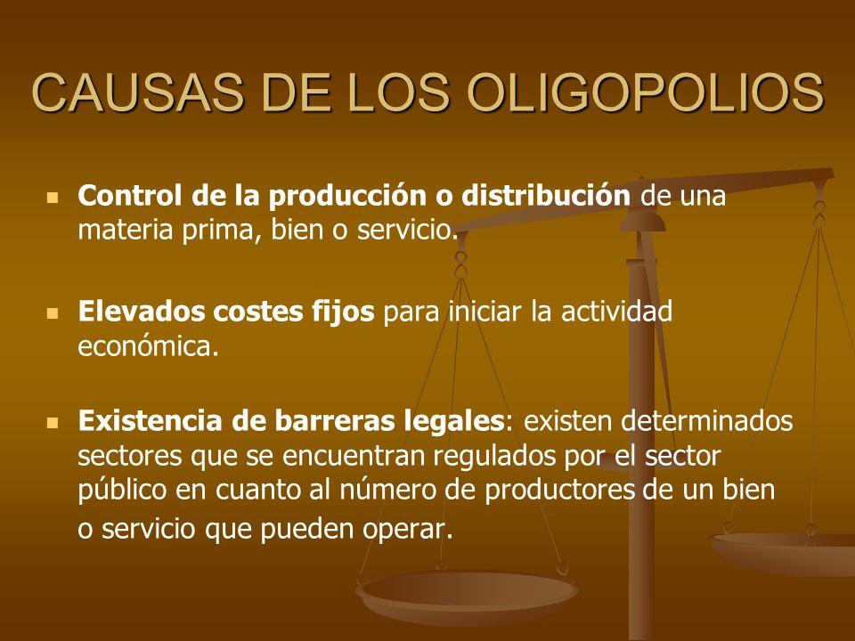 CAUSAS DE LOS OLIGOPOLIOS Control de la producción o distribución de una materia prima, bien o servicio. Elevados costes fijos para iniciar la activid