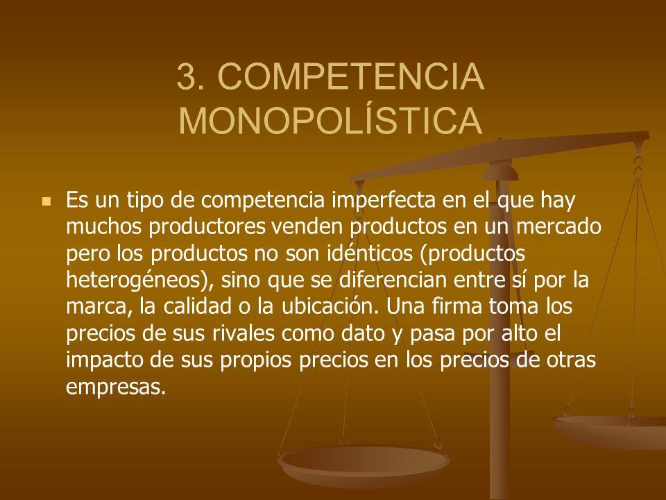3. COMPETENCIA MONOPOLÍSTICA Es un tipo de competencia imperfecta en el que hay muchos productores venden productos en un mercado pero los productos n