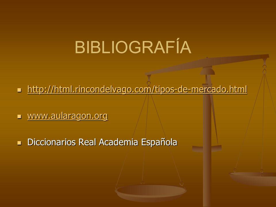 BIBLIOGRAFÍA http://html.rincondelvago.com/tipos-de-mercado.html http://html.rincondelvago.com/tipos-de-mercado.html http://html.rincondelvago.com/tipos-de-mercado.html www.aularagon.org www.aularagon.org www.aularagon.org Diccionarios Real Academia Española Diccionarios Real Academia Española