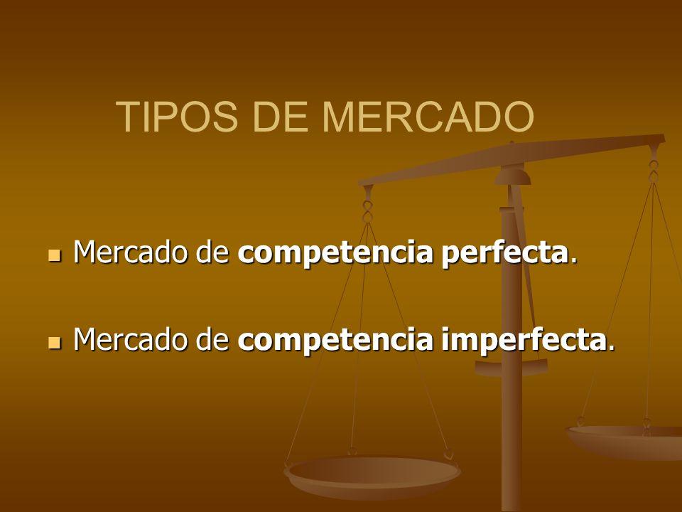 TIPOS DE MERCADO Mercado de competencia perfecta. Mercado de competencia perfecta. Mercado de competencia imperfecta. Mercado de competencia imperfect