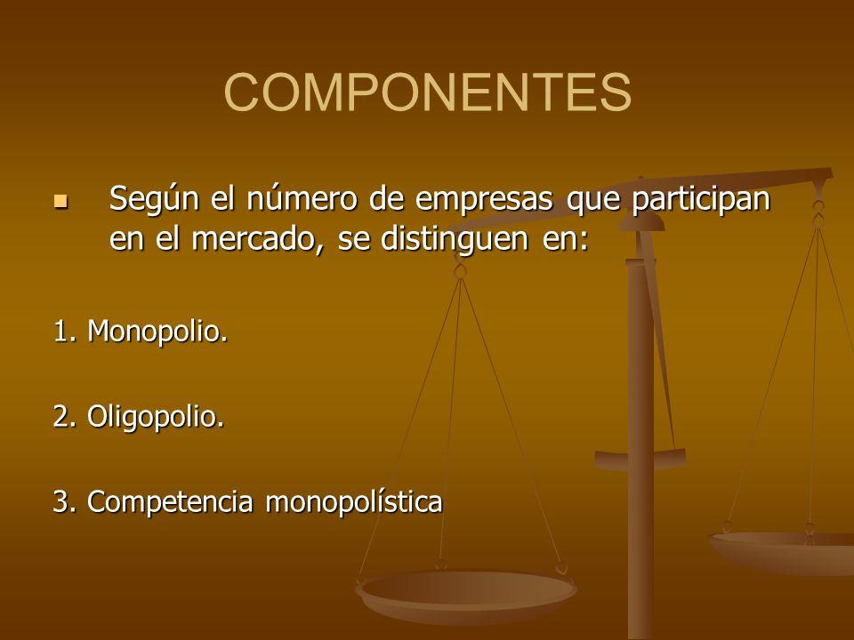 COMPONENTES Según el número de empresas que participan en el mercado, se distinguen en: Según el número de empresas que participan en el mercado, se d