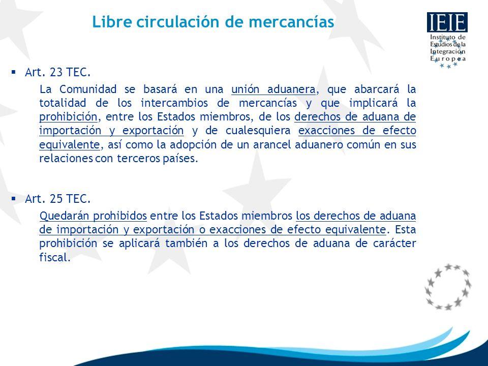 Libre circulación de mercancías Art. 23 TEC. La Comunidad se basará en una unión aduanera, que abarcará la totalidad de los intercambios de mercancías