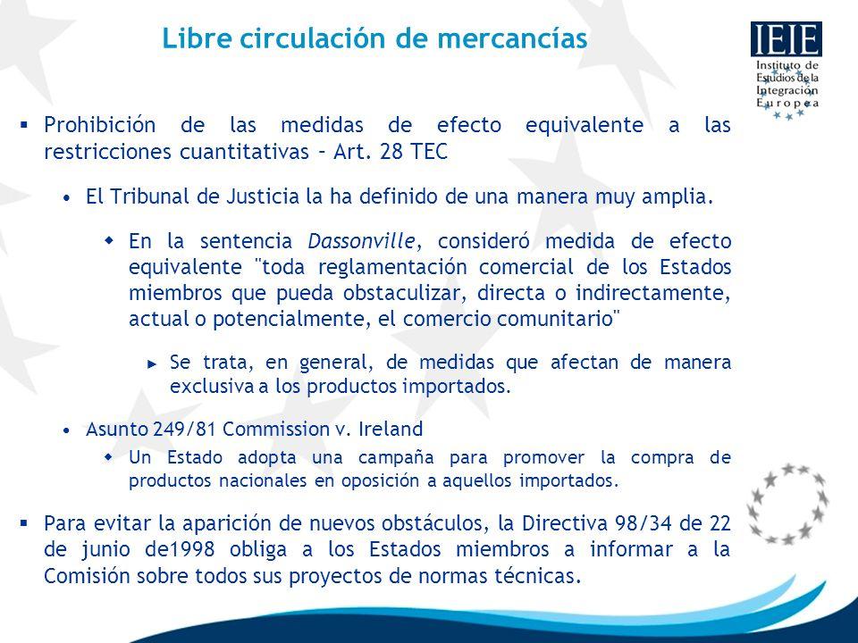 Libre circulación de mercancías Prohibición de las medidas de efecto equivalente a las restricciones cuantitativas – Art. 28 TEC El Tribunal de Justic