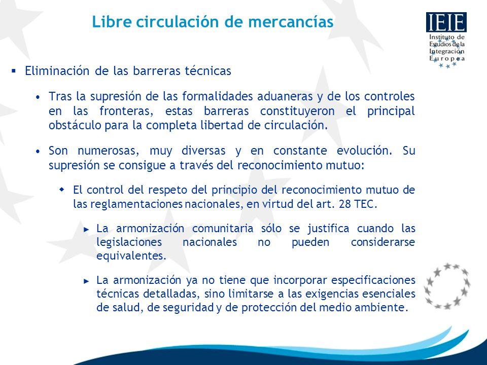 Libre circulación de mercancías Eliminación de las barreras técnicas Tras la supresión de las formalidades aduaneras y de los controles en las fronter