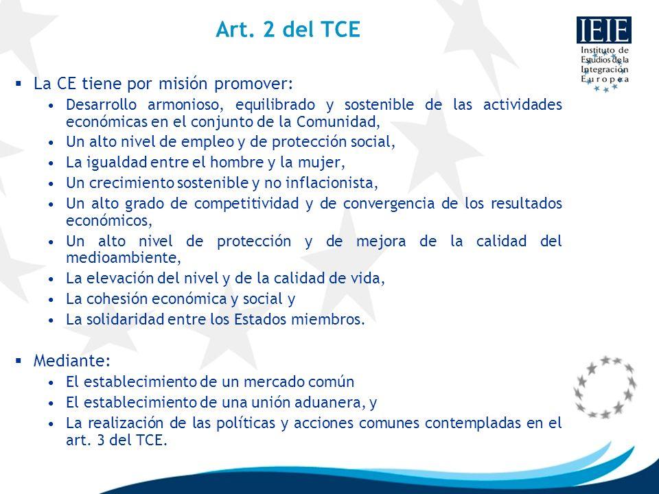 Art. 2 del TCE La CE tiene por misión promover: Desarrollo armonioso, equilibrado y sostenible de las actividades económicas en el conjunto de la Comu