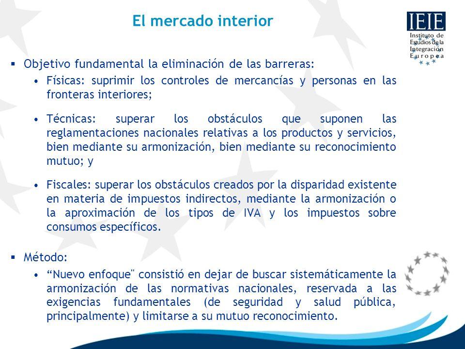 El mercado interior Objetivo fundamental la eliminación de las barreras: Físicas: suprimir los controles de mercancías y personas en las fronteras int