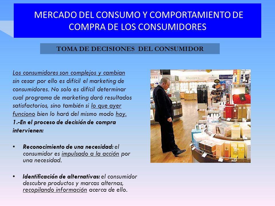 MERCADO DEL CONSUMO Y COMPORTAMIENTO DE COMPRA DE LOS CONSUMIDORES Los consumidores son complejos y cambian sin cesar por ello es difícil el marketing