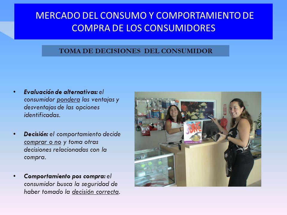 MERCADO DEL CONSUMO Y COMPORTAMIENTO DE COMPRA DE LOS CONSUMIDORES Evaluación de alternativas: el consumidor pondera las ventajas y desventajas de las