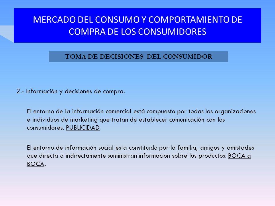MERCADO DEL CONSUMO Y COMPORTAMIENTO DE COMPRA DE LOS CONSUMIDORES 2.- Información y decisiones de compra. El entorno de la información comercial está