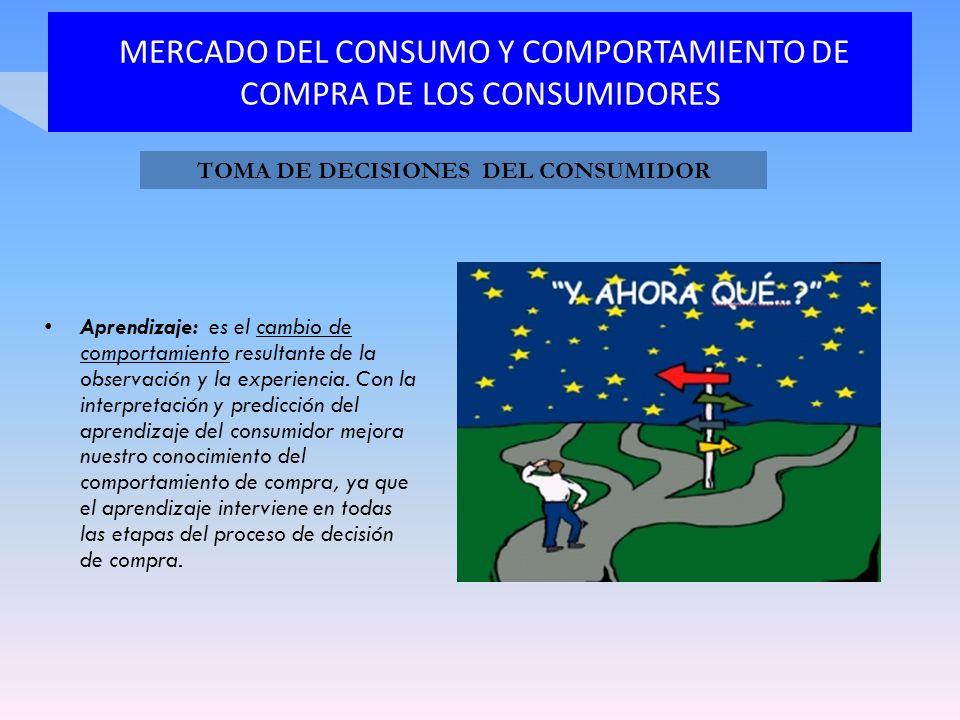 MERCADO DEL CONSUMO Y COMPORTAMIENTO DE COMPRA DE LOS CONSUMIDORES Aprendizaje: es el cambio de comportamiento resultante de la observación y la exper