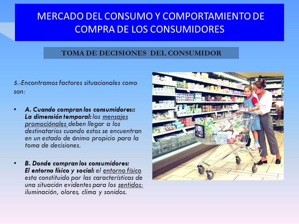 MERCADO DEL CONSUMO Y COMPORTAMIENTO DE COMPRA DE LOS CONSUMIDORES 5.- Encontramos factores situacionales como son: A. Cuando compran los consumidores