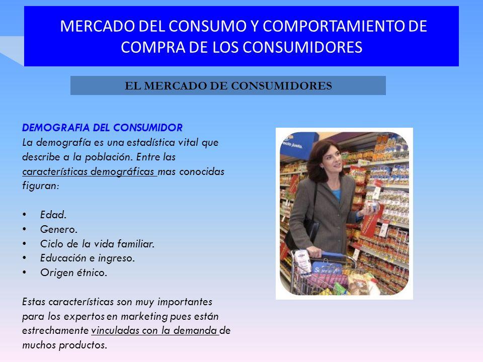 MERCADO DEL CONSUMO Y COMPORTAMIENTO DE COMPRA DE LOS CONSUMIDORES DEMOGRAFIA DEL CONSUMIDOR La demografía es una estadística vital que describe a la