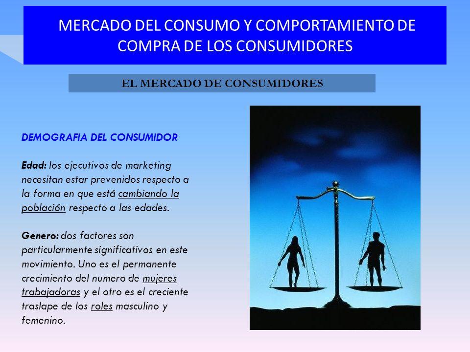 MERCADO DEL CONSUMO Y COMPORTAMIENTO DE COMPRA DE LOS CONSUMIDORES DEMOGRAFIA DEL CONSUMIDOR Edad: los ejecutivos de marketing necesitan estar preveni
