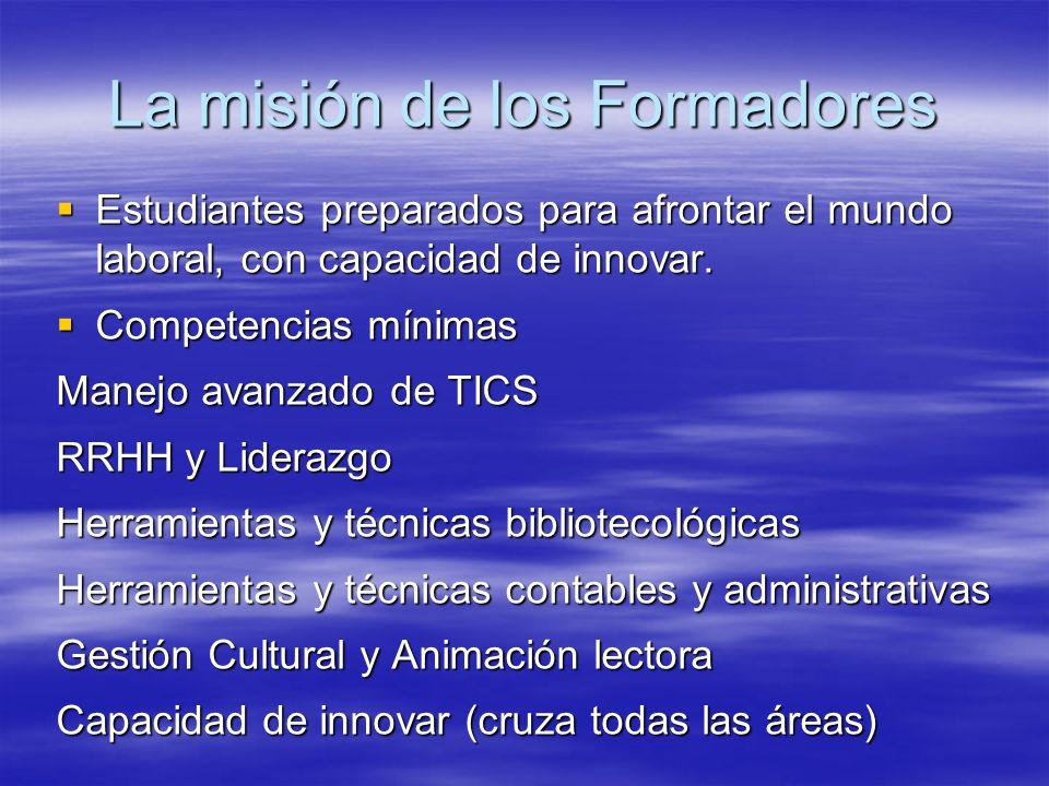 La misión de los Formadores Estudiantes preparados para afrontar el mundo laboral, con capacidad de innovar. Estudiantes preparados para afrontar el m