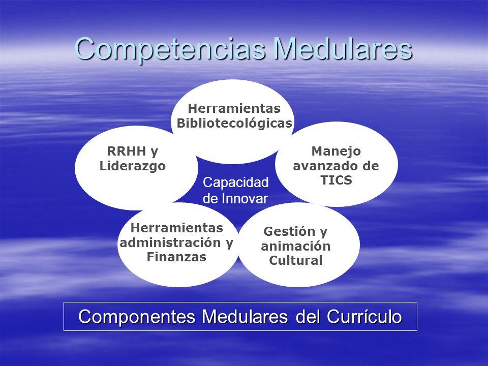 Competencias Medulares Herramientas Bibliotecológicas Manejo avanzado de TICS Herramientas administración y Finanzas Gestión y animación Cultural RRHH