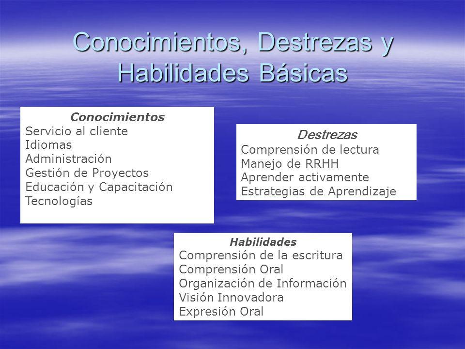 Conocimientos, Destrezas y Habilidades Básicas Conocimientos Servicio al cliente Idiomas Administración Gestión de Proyectos Educación y Capacitación