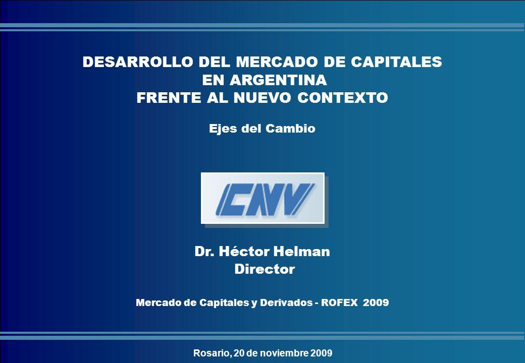 COMISIÓN NACIONAL DE VALORES Dr. Héctor Helman Director Mercado de Capitales y Derivados - ROFEX 2009 DESARROLLO DEL MERCADO DE CAPITALES EN ARGENTINA