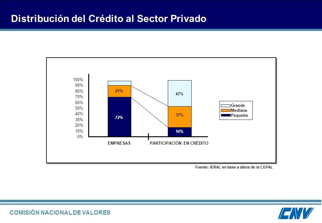 COMISIÓN NACIONAL DE VALORES Distribución del Crédito al Sector Privado Fuente: IERAL en base a datos de la CEPAL Grande Mediana Pequeña PARTICIPACIÓN