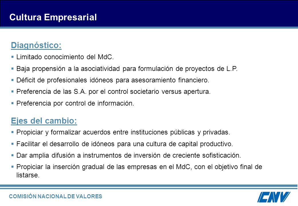 COMISIÓN NACIONAL DE VALORES Cultura Empresarial Limitado conocimiento del MdC. Baja propensión a la asociatividad para formulación de proyectos de L.