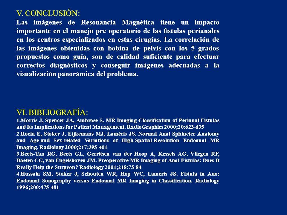 V. CONCLUSIÓN: Las imágenes de Resonancia Magnética tiene un impacto importante en el manejo pre operatorio de las fístulas perianales en los centros
