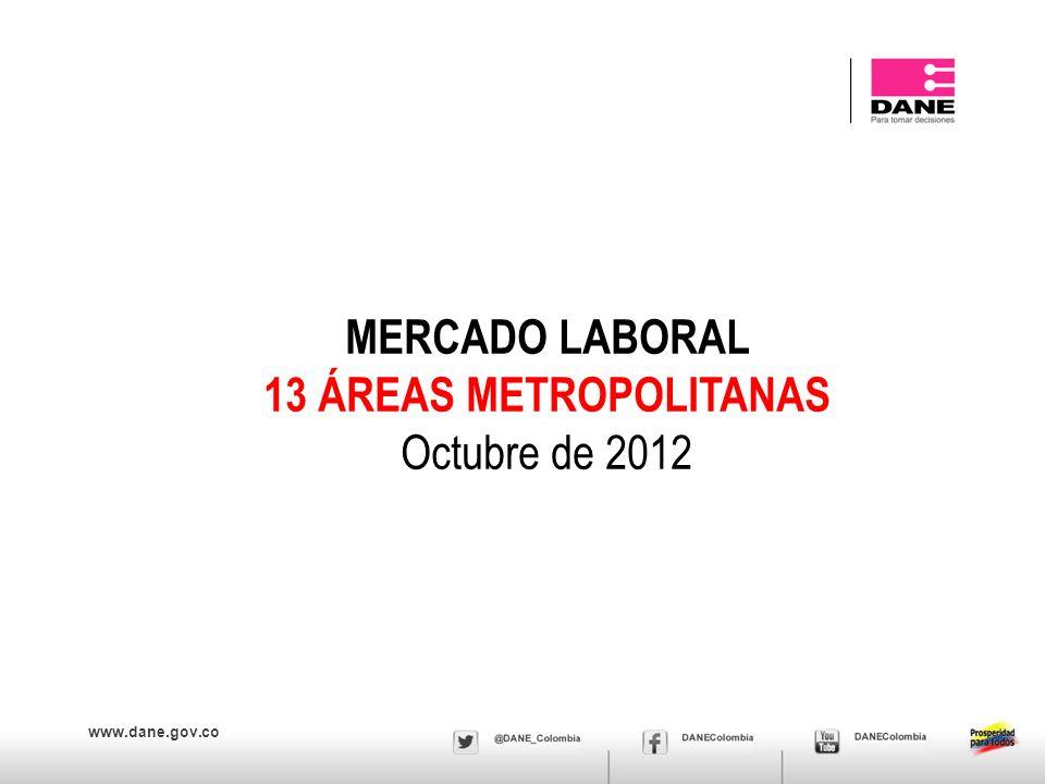 www.dane.gov.co MERCADO LABORAL 13 ÁREAS METROPOLITANAS Octubre de 2012