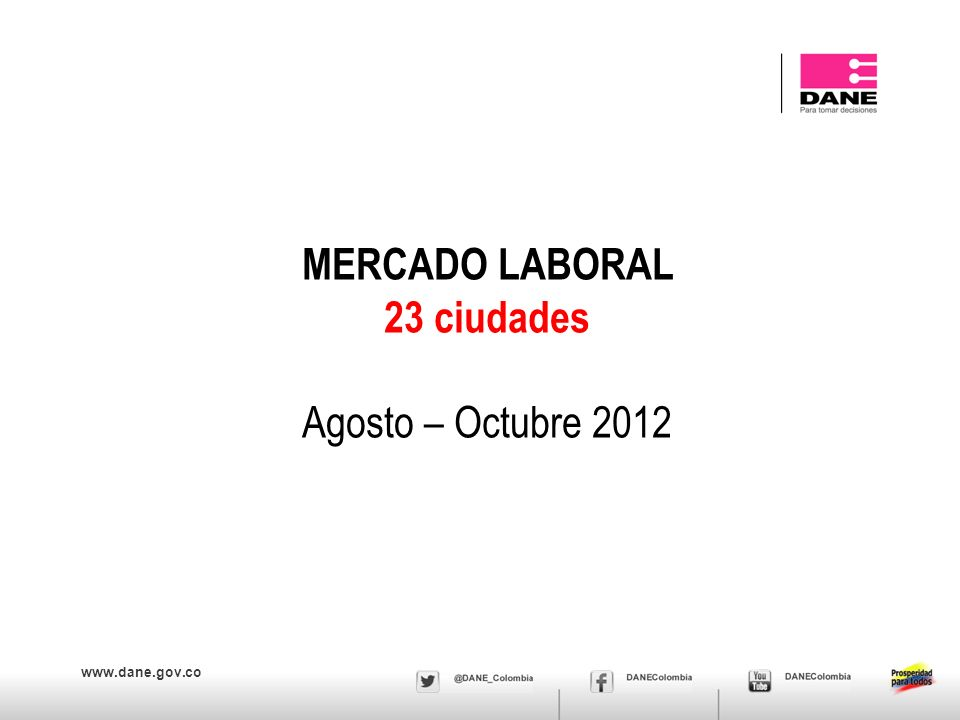 www.dane.gov.co MERCADO LABORAL 23 ciudades Agosto – Octubre 2012