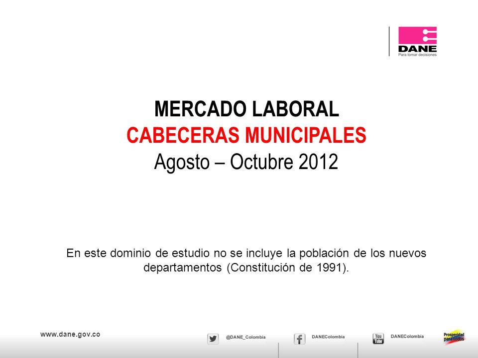 www.dane.gov.co MERCADO LABORAL CABECERAS MUNICIPALES Agosto – Octubre 2012 En este dominio de estudio no se incluye la población de los nuevos depart