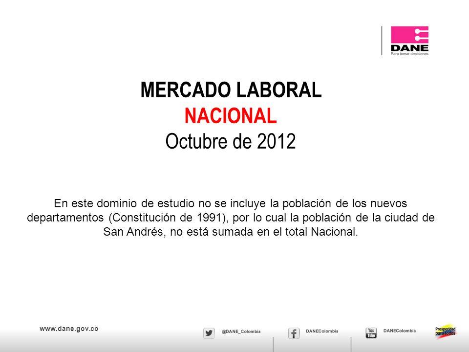 www.dane.gov.co MERCADO LABORAL NACIONAL Octubre de 2012 En este dominio de estudio no se incluye la población de los nuevos departamentos (Constituci