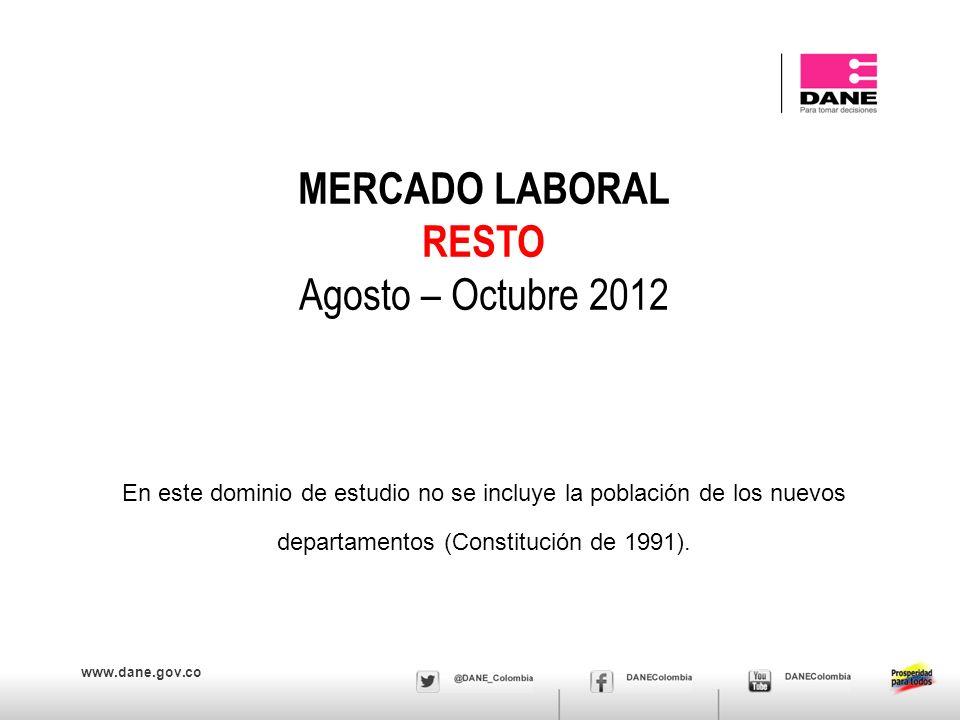 www.dane.gov.co MERCADO LABORAL RESTO Agosto – Octubre 2012 En este dominio de estudio no se incluye la población de los nuevos departamentos (Constit