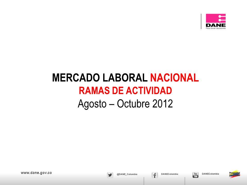 www.dane.gov.co MERCADO LABORAL NACIONAL RAMAS DE ACTIVIDAD Agosto – Octubre 2012