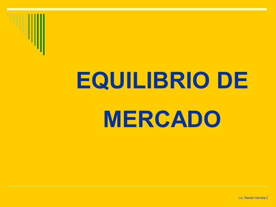 Lic. Renán Herrera Z. ECONOMÍA DE MERCADO En cambio si la existencia de un solo bien es excesiva los productores bajan sus precios para que se pueda c