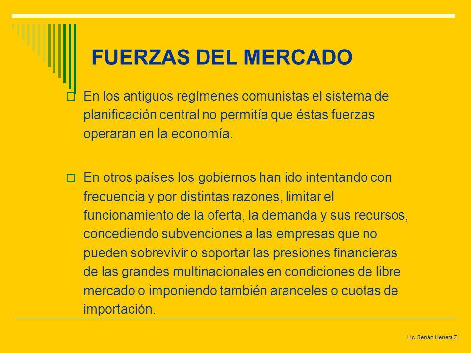 Lic. Renán Herrera Z. FUERZAS DEL MERCADO Se entiende por fuerzas del mercado a la influencia que ejercen los mercados en una economía concreta. Depen