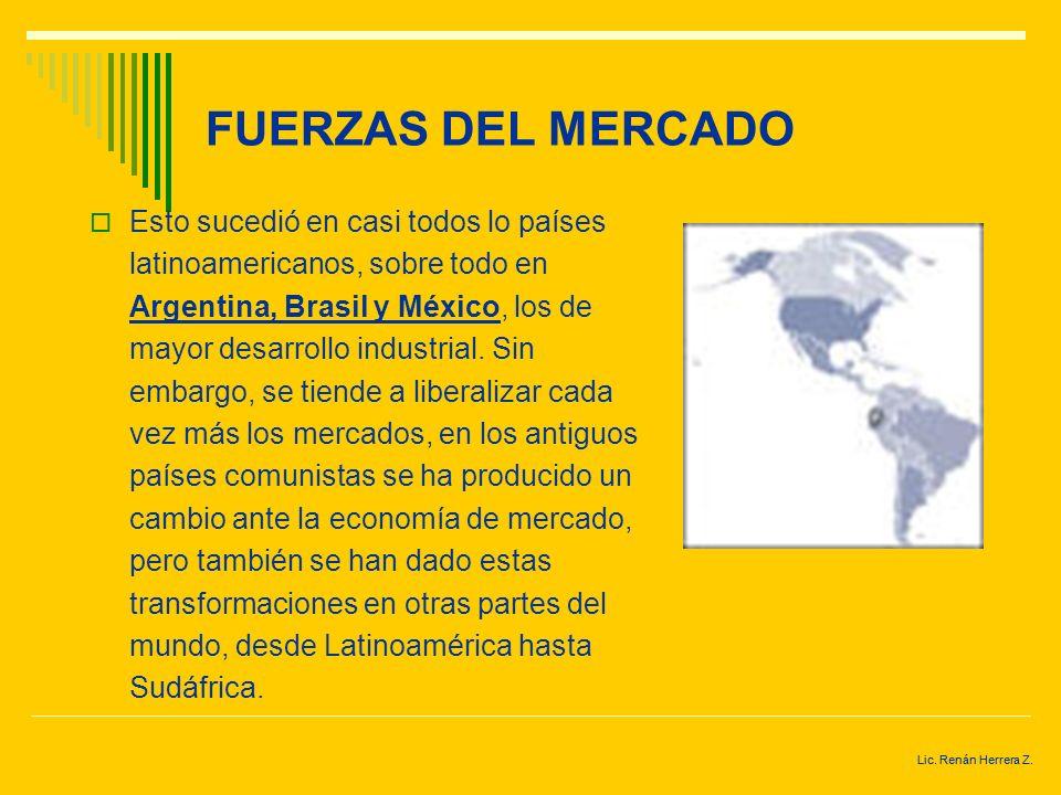 Lic. Renán Herrera Z. FUERZAS DEL MERCADO En los antiguos regímenes comunistas el sistema de planificación central no permitía que éstas fuerzas opera