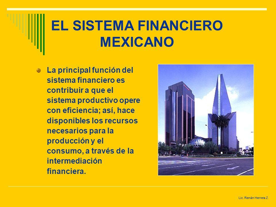 Lic. Renán Herrera Z. EL SISTEMA FINANCIERO MEXICANO Conjunto de instituciones públicas o privadas, instrumentos (activos financieros) y mercados fina