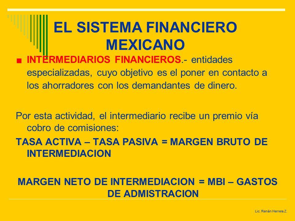 Lic. Renán Herrera Z. EL SISTEMA FINANCIERO MEXICANO INSTRUMENTOS O ACTIVOS FINANCIEROS.- títulos emitidos por las unidades económicas de gasto defici