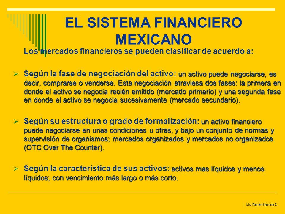 Lic. Renán Herrera Z. EL SISTEMA FINANCIERO MEXICANO MERCADOS FINANCIEROS.- mecanismo o lugar a través del cual, se intercambian los activos financier