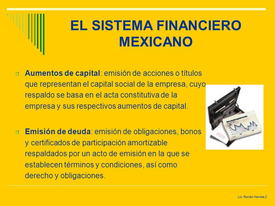 Lic. Renán Herrera Z. EL SISTEMA FINANCIERO MEXICANO El financiamiento de las actividades productivas y del consumo se lleva a cabo mediante dos forma