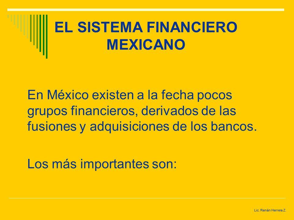 Lic. Renán Herrera Z. EL SISTEMA FINANCIERO MEXICANO Después del financiamiento otorgado por los proveedores, el financiamiento bancario es la fuente