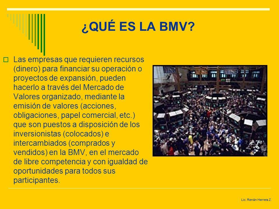 Lic. Renán Herrera Z. ¿QUÉ ES LA BMV? El objeto de la BMV es proporcionar la infraestructura y los servicios necesarios para la realización eficaz de