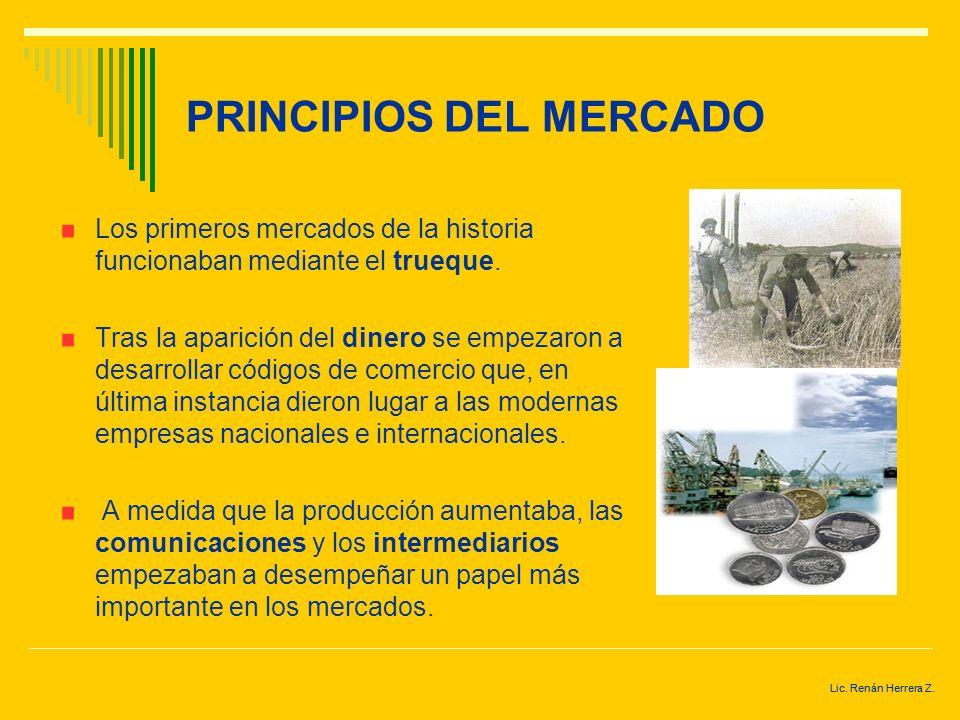 Lic. Renán Herrera Z. ¿QUÉ ES UN MERCADO? Es un mecanismo mediante el cual los compradores y los vendedores pueden determinar los precios e intercambi