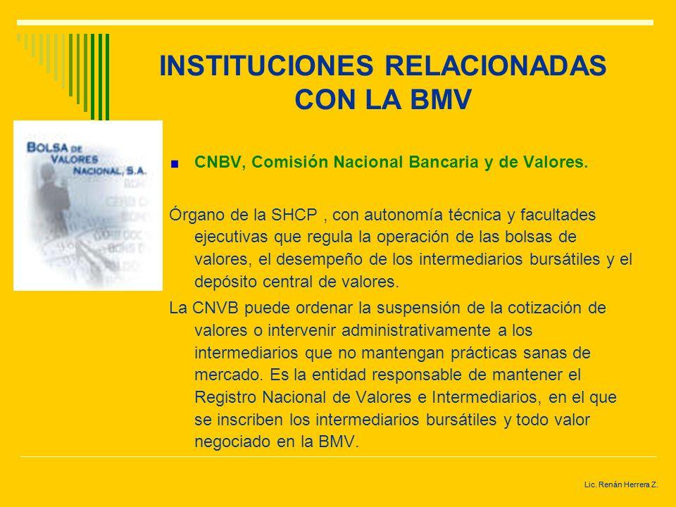 Lic. Renán Herrera Z. INSTITUCIONES RELACIONADAS CON LA BMV Instituciones reguladoras. En virtud que la BMV es una de las entidades responsables de su
