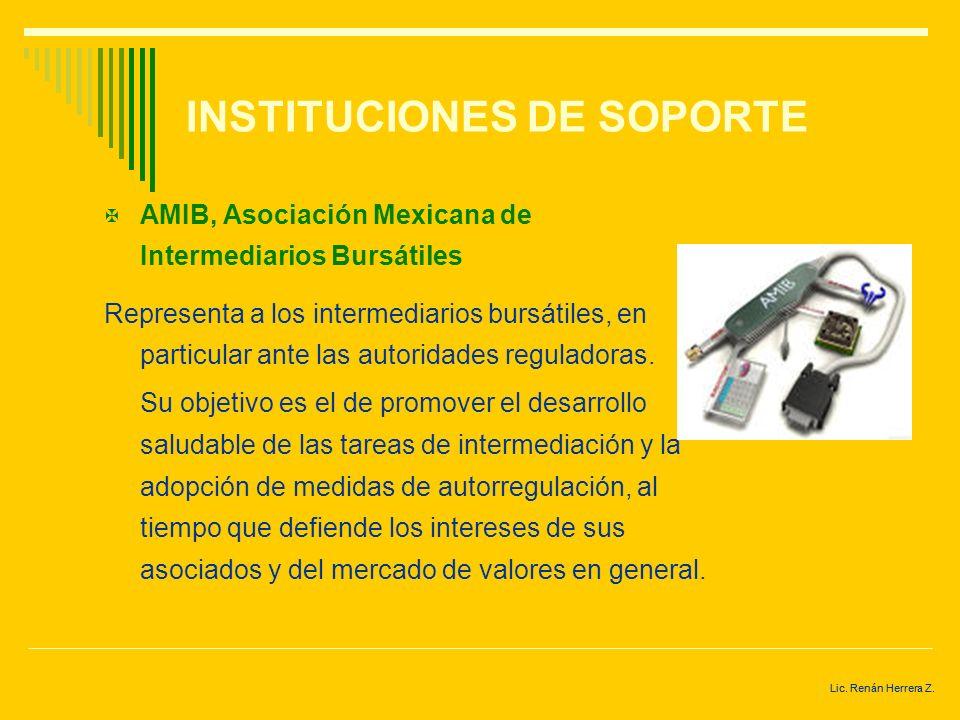 Lic. Renán Herrera Z. INSTITUCIONES RELACIONADAS CON LA BMV CNBV, Comisión Nacional Bancaria y de Valores. Órgano de la SHCP, con autonomía técnica y