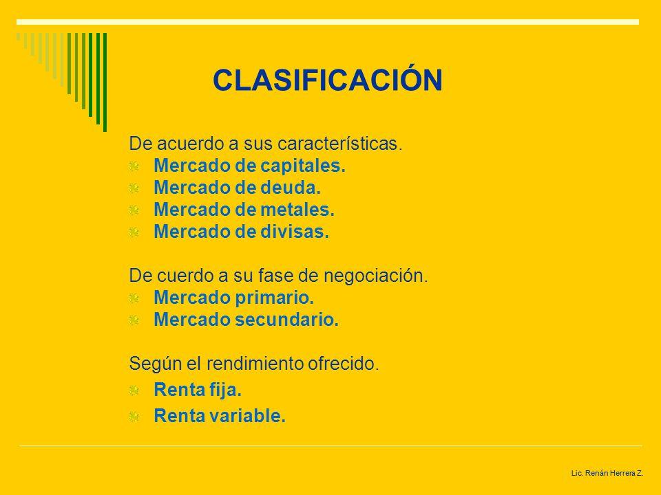 Lic. Renán Herrera Z. CLASIFICACIÓN
