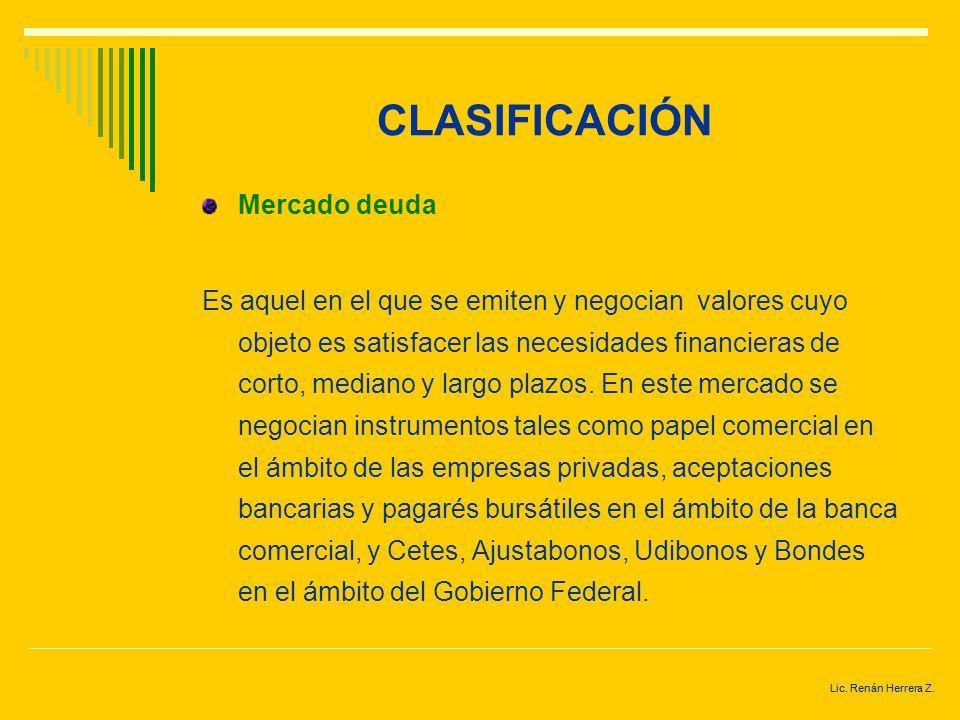 Lic. Renán Herrera Z. CLASIFICACIÓN De acuerdo a sus características. Mercado de capitales En él se colocan y negocian, valores cuyo objeto es satisfa