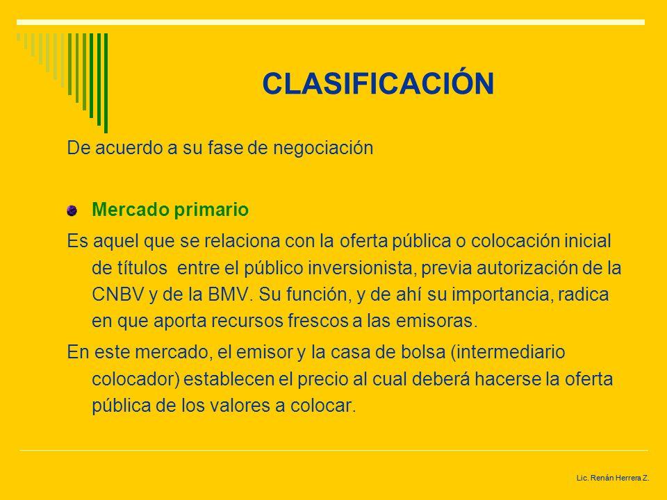 Lic. Renán Herrera Z. CLASIFICACIÓN Mercado de metales En él se negocian certificados de plata, mejor conocidos como Ceteplatas. Mercado de divisas En